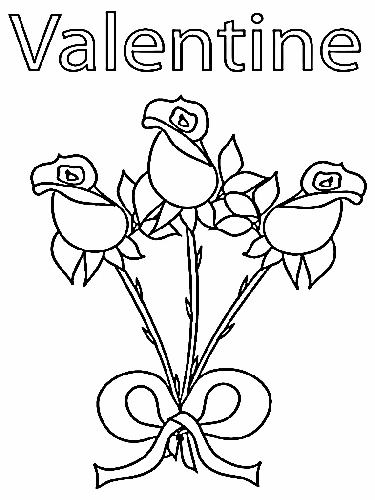 Romantic Rose Flower Kids Valentine Coloring Sheet