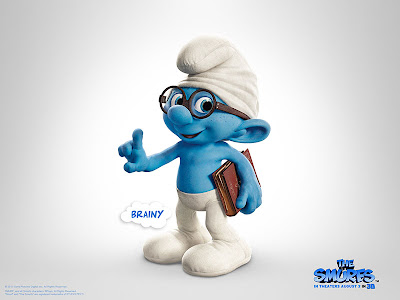 The Smurfs movie official poster of brainy