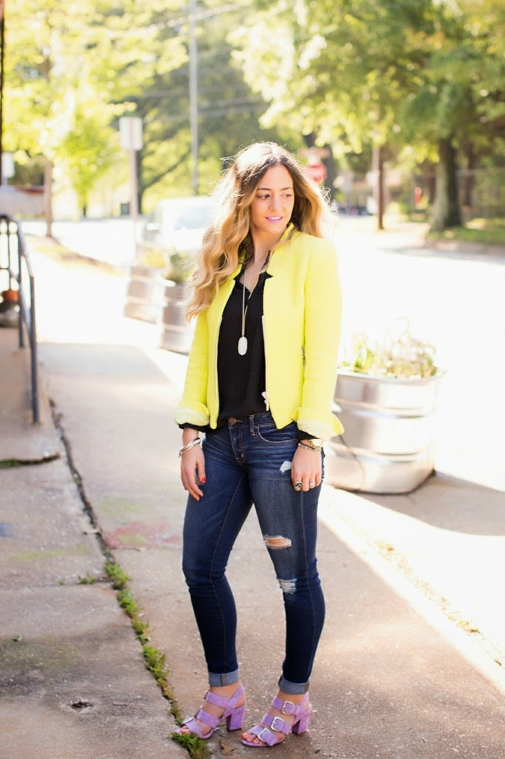 Distressed denim with neon blazer