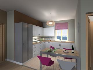 Progetto soggiorno cucina a vista