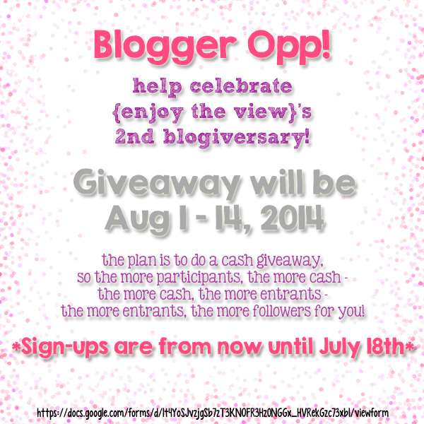 Blogger Opp! Signup to participate in {enjoy the view}'s 2nd Blogiversary Cash Giveaway! Cohost or just add links - grow your following! #bloggers #blogger #giveaway