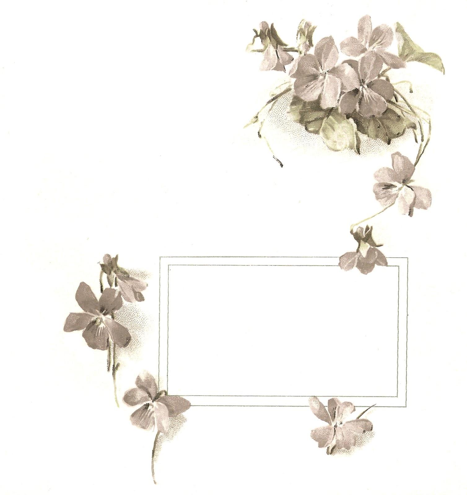 Free Printable Flower Frame Image: Vintage Forget-Me-Not Flower Design ...