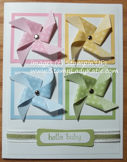 Baby Card made with Stampin'UP!'s new pinwheel clearlit die.