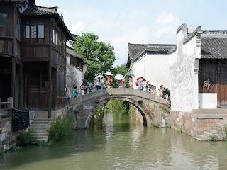 A bridge over a canal scene in Wuzhen, Zhejiang, China