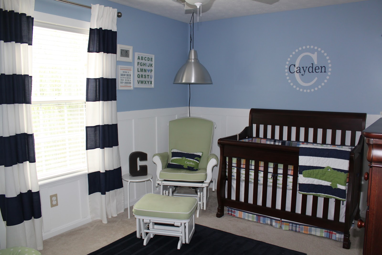 The Bedding Is Alligator Madras Nursery From Pottery Barn I Loved Plaid Per And Crib Skirt Wide Blue White Striped Quilt