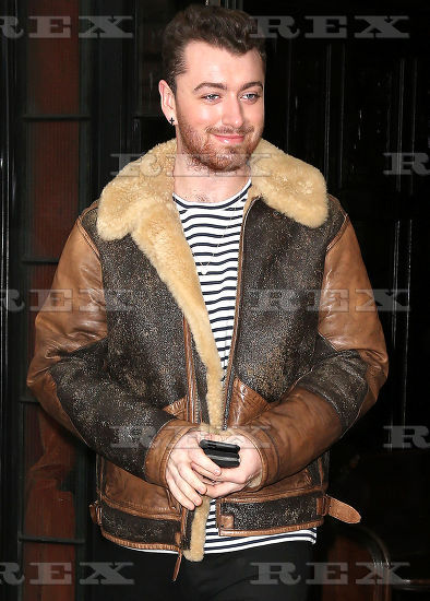 Sam Smith wore the Polo Ralph Lauren Distresses Shearling Bomber Jacket  whilst out and about in New York