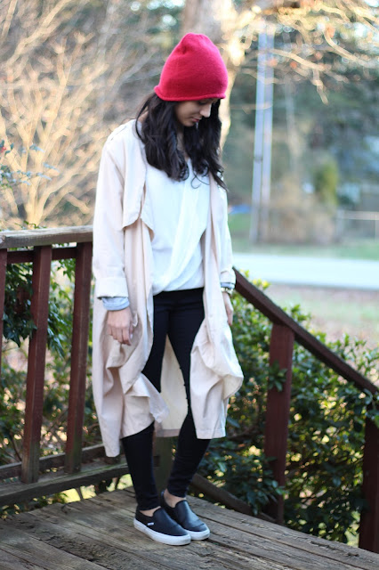 red beanie waterfall trench coat leather vans outfit