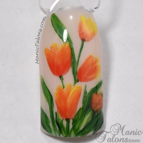 One Stroke Nail Art Tulips
