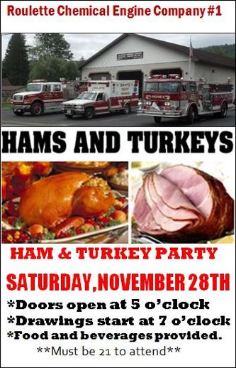 11-28 Ham & Turkey Raffles At Roulette