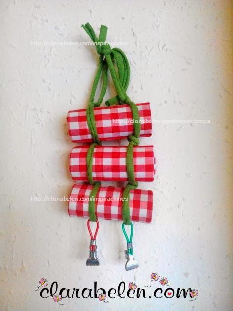 Manualidades reciclar tubos de papel y cucharas desechables for Porta cucharas cocina