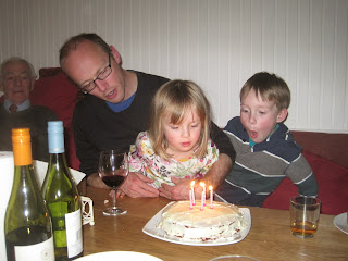 Blowing out candles on the birthday cake