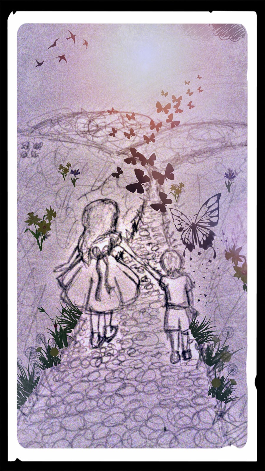 Butterflies, drawing, sketch, my life my son my way, mother son, path, down syndrome, life,