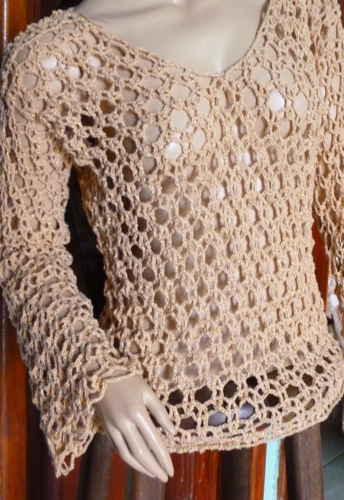 Excepcional Blusa de Crochê Manga comprida. | Crochê em Roupas e Acessórios FE79