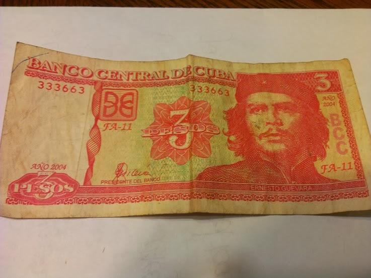 3 Cuban Peso bill.