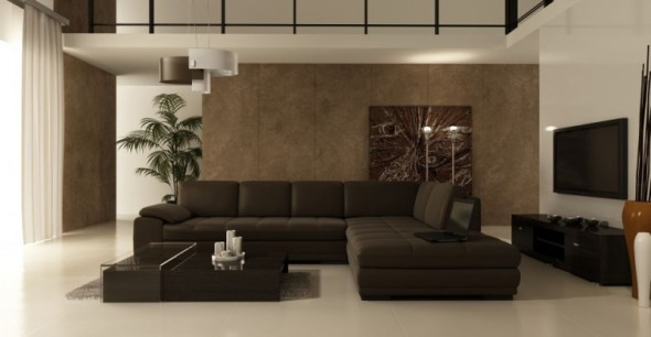 And Wonderful Living Room Decoration Idea With Cozy Brown Sofa