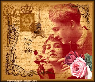 fondo vintage con pareja y rosas