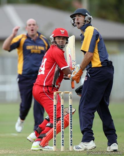 Napier Tech batting vs Havelock North, premier men's cricket at McLean Park, Napier photograph
