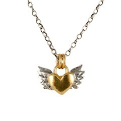 Gold & silver wing heart necklace