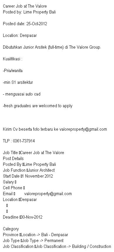 Lowongan Pekerjaan Lime Property Bali - Career Job at The Valore