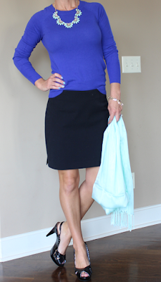 Fall 2015, business casual outfit, work wear, blue and black