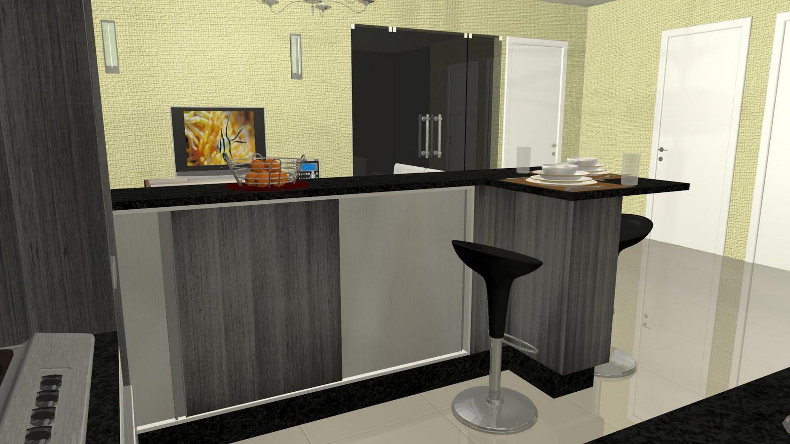 #1675B5 Espaço Nobre Design: Cozinha c/ Ilha Modelo 2 (Ráfia Cinza Montego  1600x900 px Modelo De Cozinha Design_501 Imagens