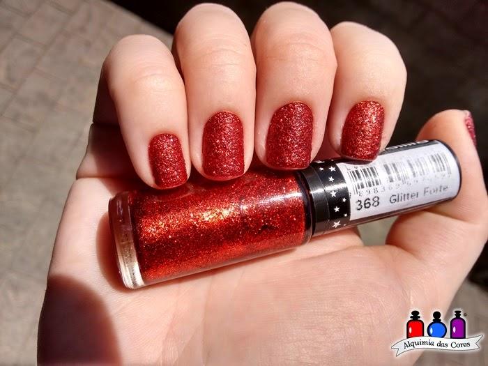 368, Hits, glitter, texturizado, glitter forte, vermelho, nail polish, esmalte