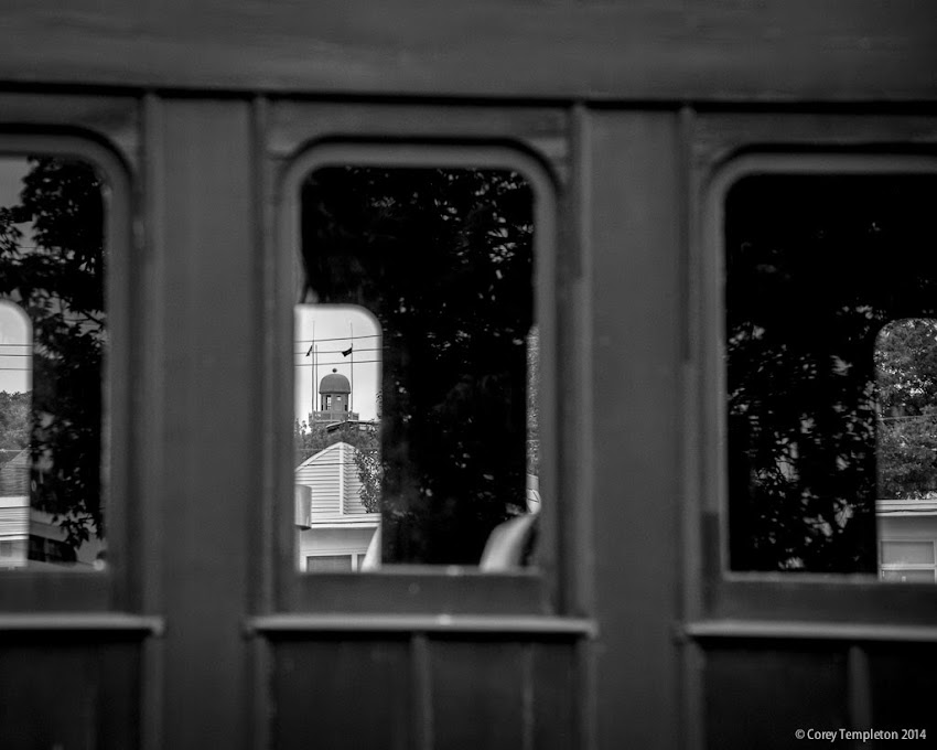 Portland Observatory and Munjoy Hill looking through Maine Narrow Gauge Railroad Car in Portland, Maine 2014 photo by Corey Templeton