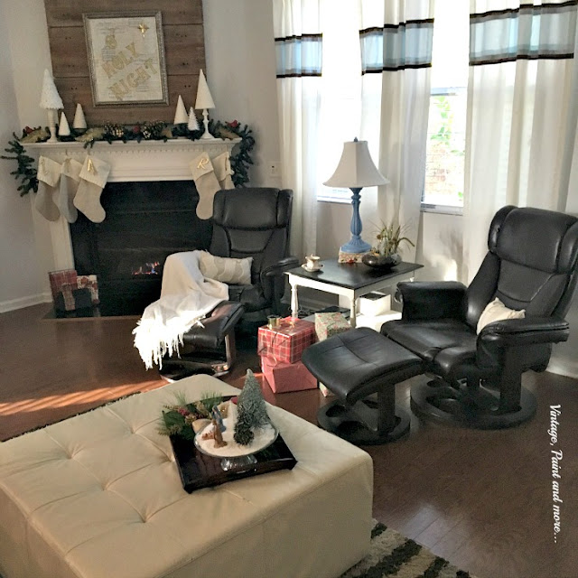 Family room decorated with DiY decor