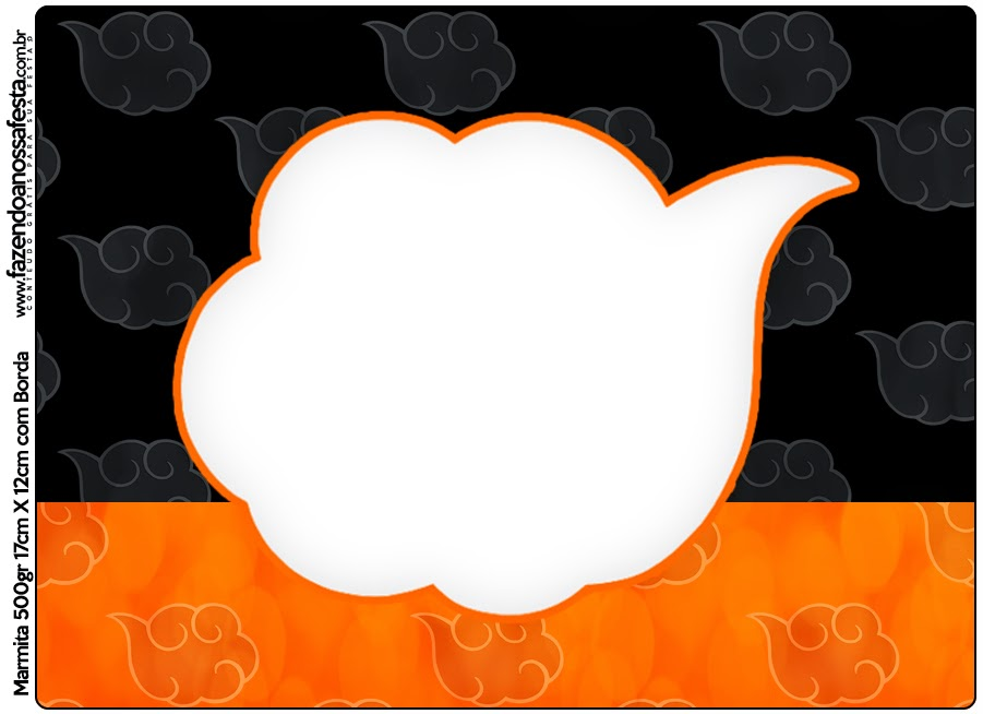 Etiquetas de Naranja y Negro con Nubes para imprimir gratis.