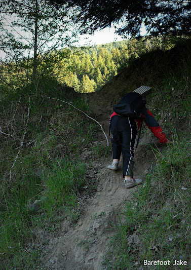 kid on steep trail