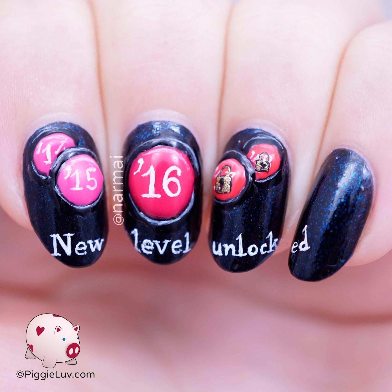 PiggieLuv: 2016: new level unlocked! New Year\'s nail art