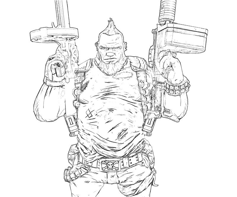 Printable Borderlands 2 Salvador Character Coloring Pages title=
