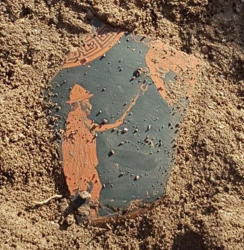 Un fragment d'un vase attique avec l'image d'Hermès retrouvé à Paestum