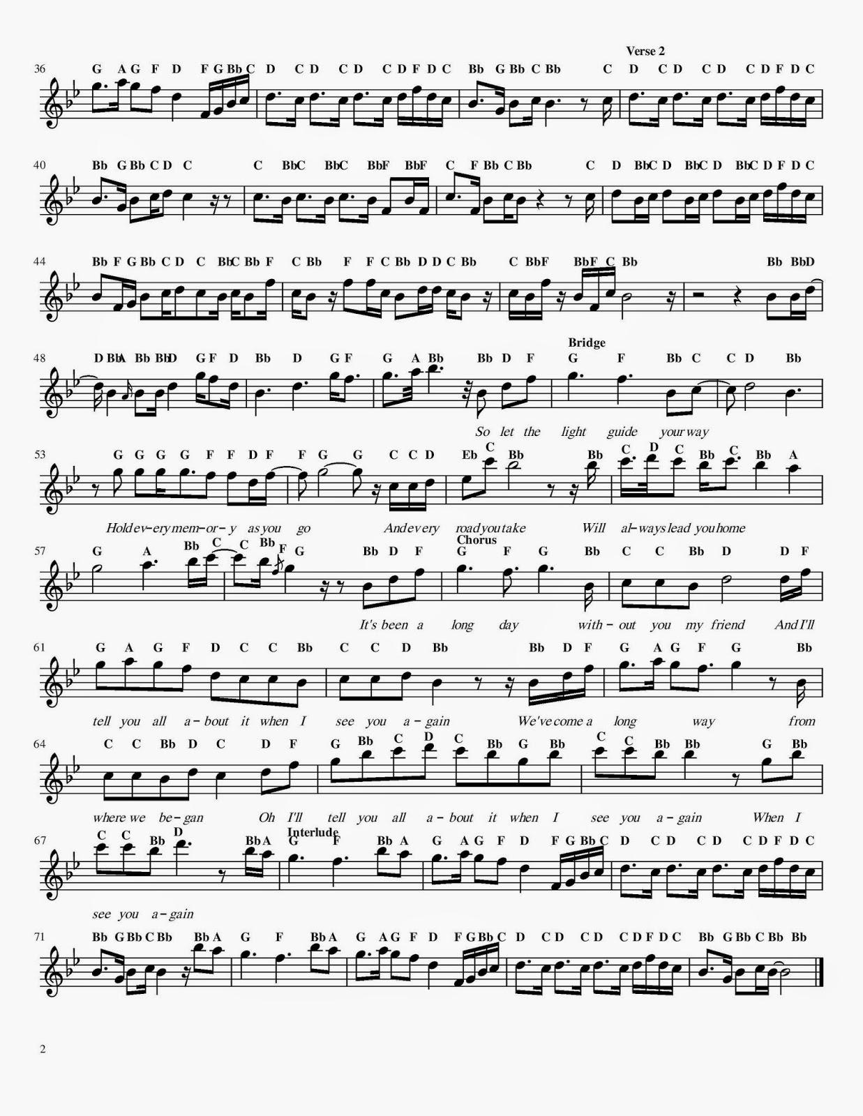 again furious flute sheet