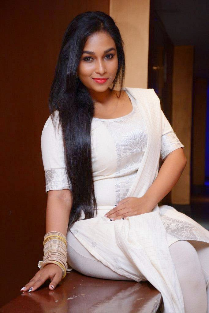 Actress Sri Kala Latest Cute Hot Exclusive Beautiful White Dress Spicy Photos Gallery