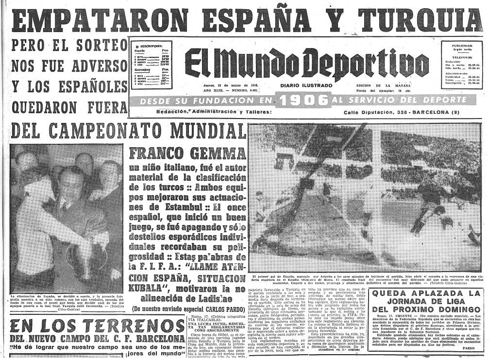 Portada de Mundo Deportivo del 18 de marzo de 1954
