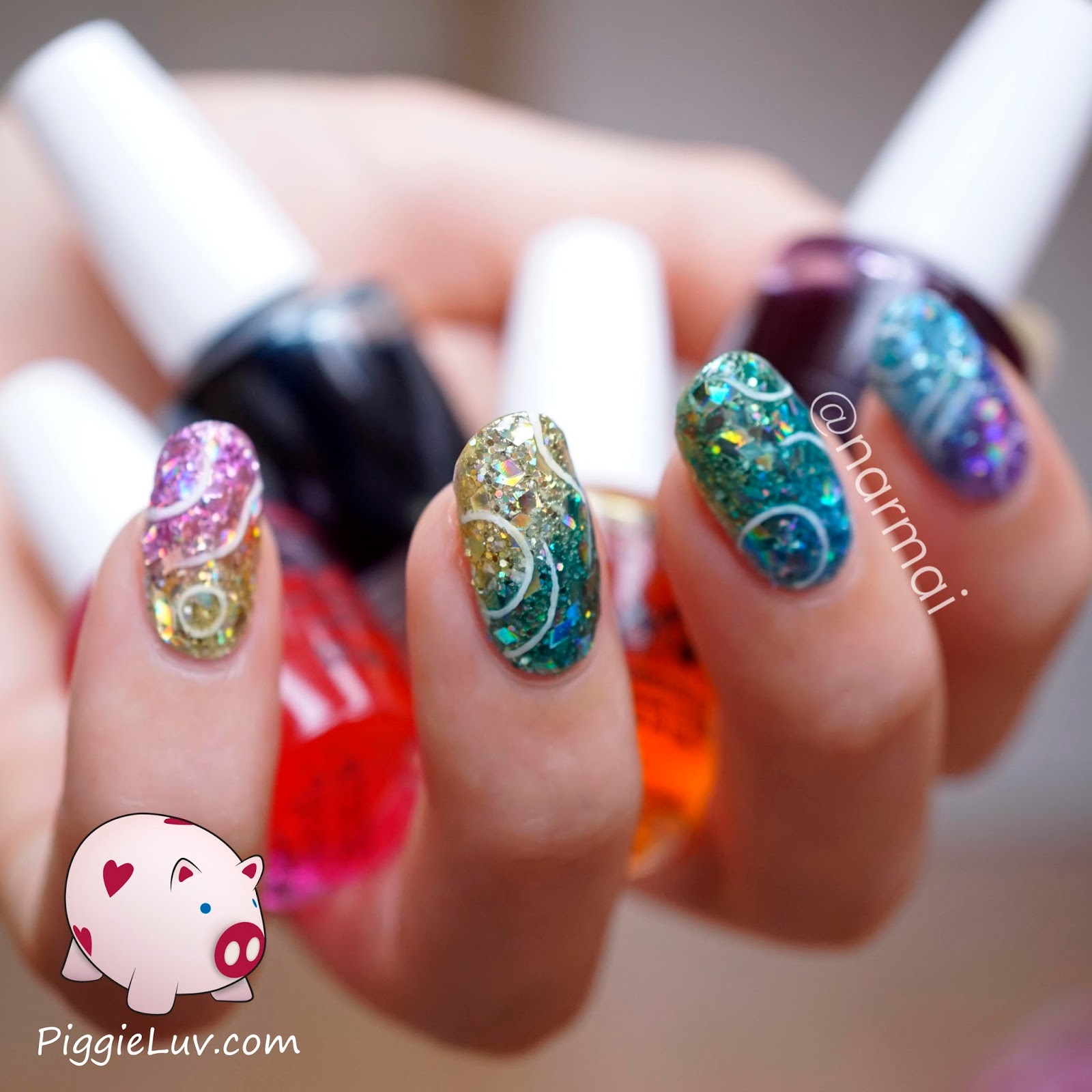 Piggieluv Glitter Jellies Nail Art With Opi Sheer Tints