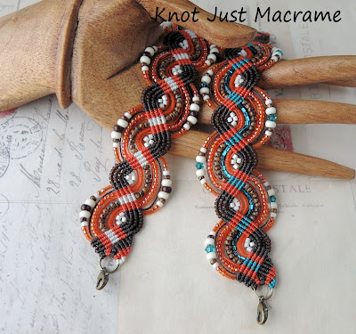 Micro macrame bracelets in fall colors by Sherri Stokey of Knot Just Macrame