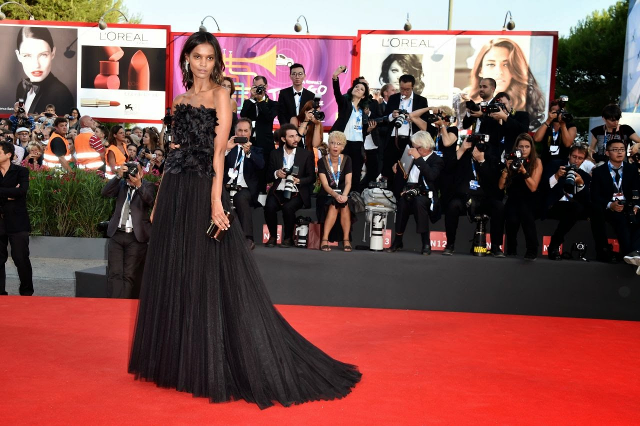 Liya Kebede wears Alberta Ferretti for the 'Birdman' Venice Film Festival Premiere and Opening Ceremony