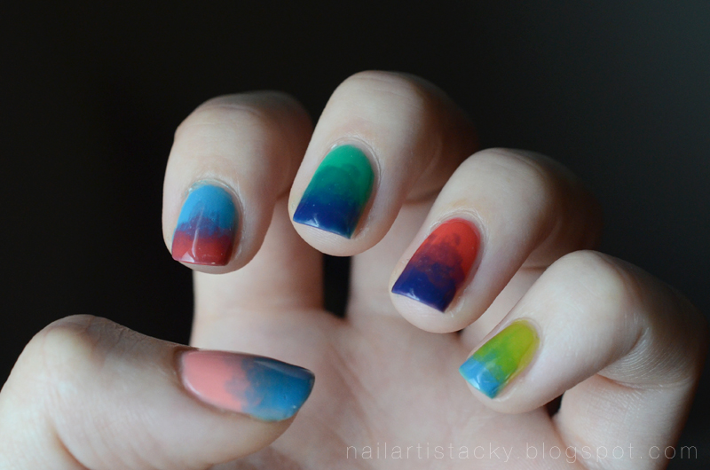 Tie Dye Nails - American Apparel Sheer Nail Polish
