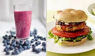 blueberry tofu smoothie and chicken veggie burger