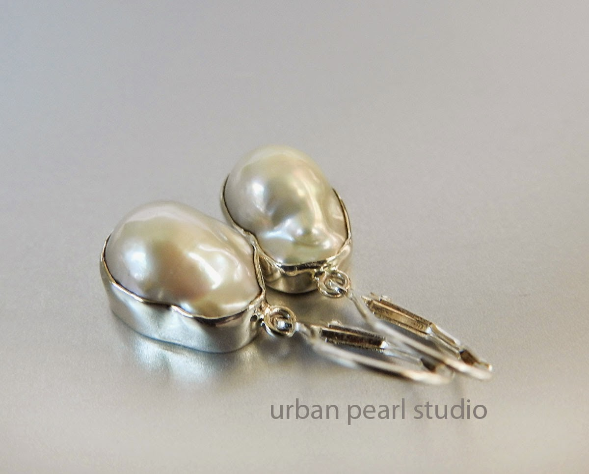 White Freshwater Baroque Mabe Pearl Earrings in Silver