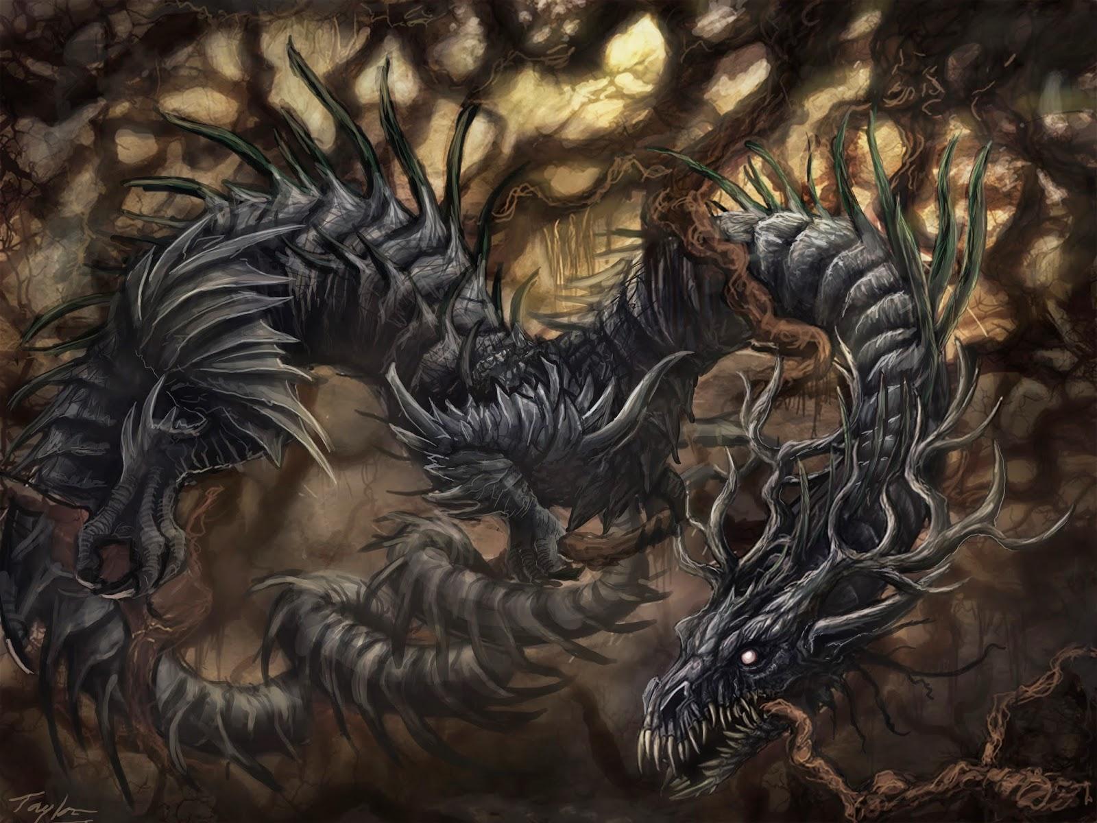Níðhöggr destruyendo las raices del arbol sagrado