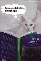 Gatinho branco lendo o livro Gatos Sortudos