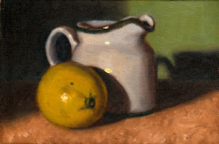 Oil painting of a lime beside a white porcelain milk jug.