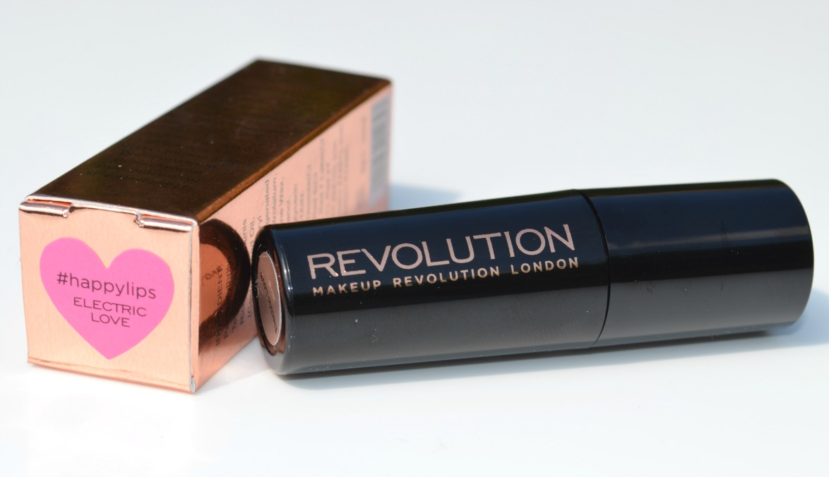 Makeup Revolution #HappyLips Amazing Care Lipstick in Electric Love - Review and Swatch