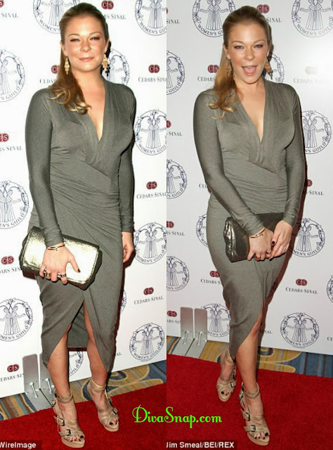 DIVA IS WEARING MY DRESS: LEANN RIMES WEAR SAME FITTED GRAY DRESS - DivaSnap.com