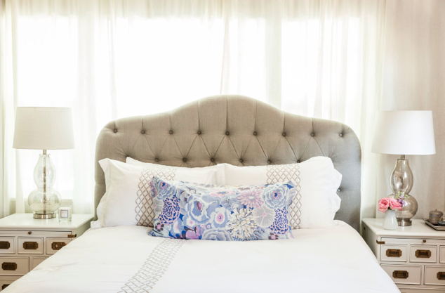 silvery floral bedroom