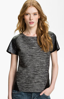 Trouve Faux Leather Trim Tee