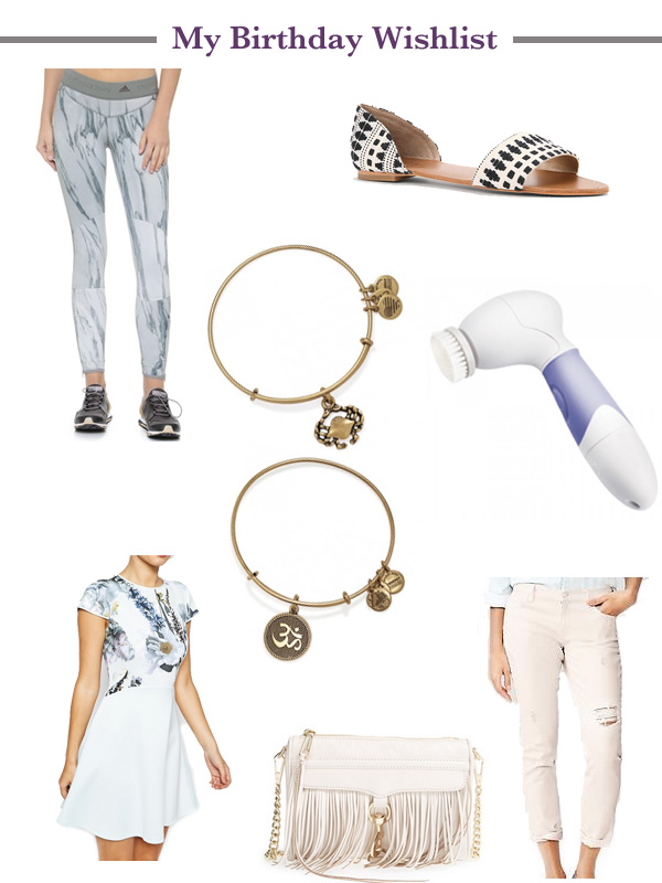 my birthday wishlist, activewear, Alex & Ani, crab, Om, Loft sandals